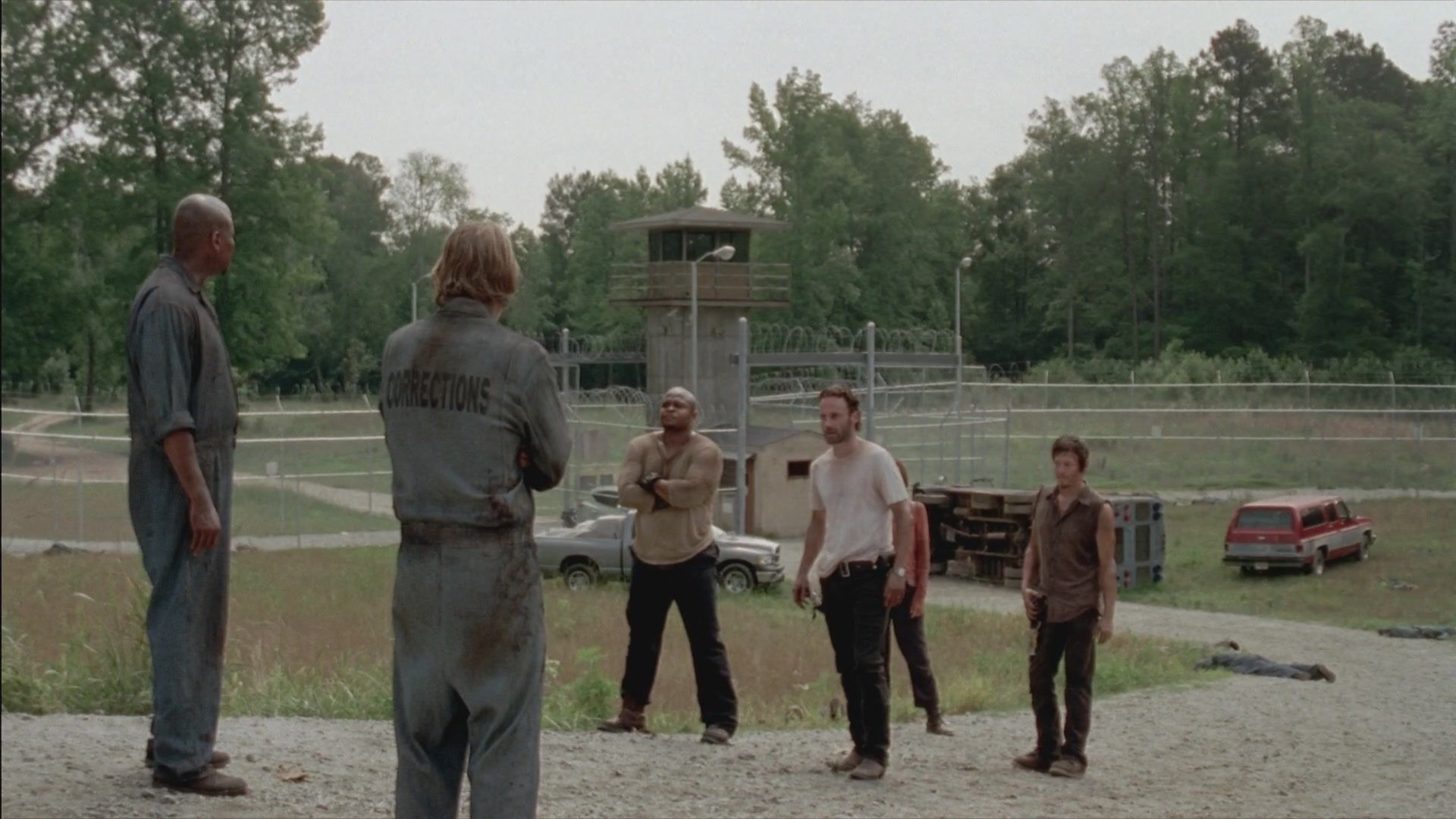 The group is severed, placing lives in jeopardy. Merle has a request for the Governor. Meanwhile the prison doesn't seem to be a place as secure as they thought.
