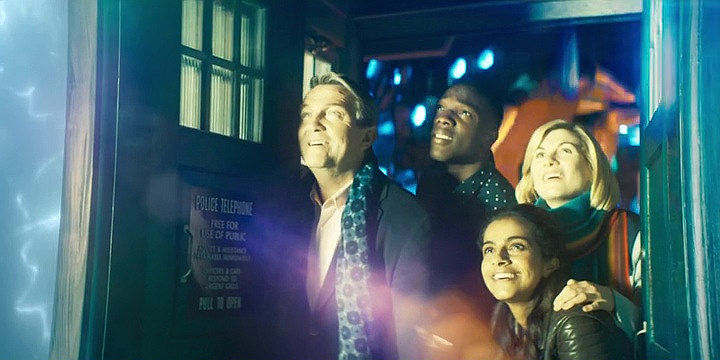Bradley Walsh, Tosin Cole, Mandip Gill, Jodie Whittaker, Doctor Who 2018 New Year's Day Special