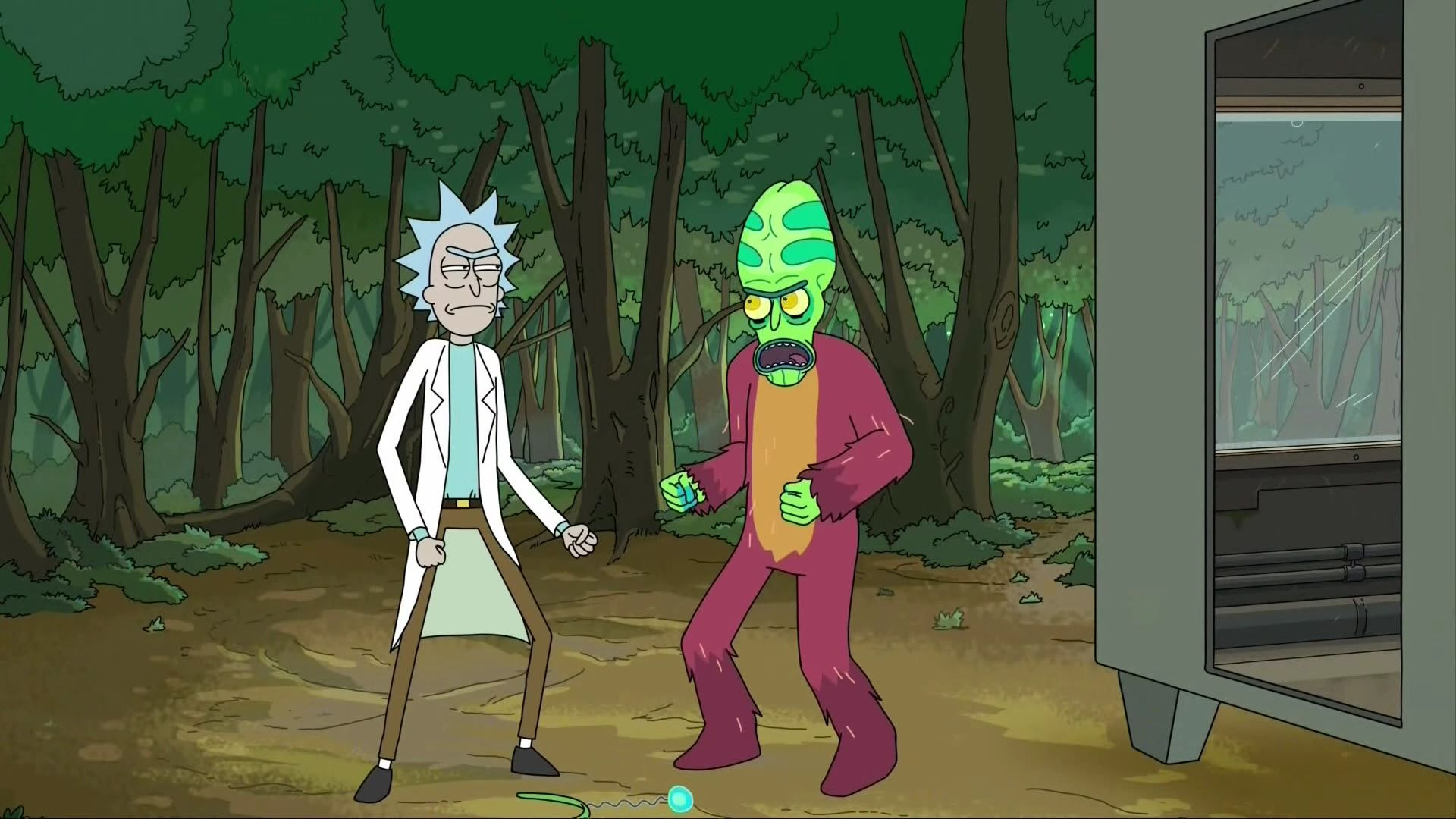 Rick and Morty travel inside the car's battery, where Morty discovers Rick has created a universe containing sentient life solely to produce power for him. Meanwhile, Summer must deal with being locked in the car with Rick's overzealous security system.