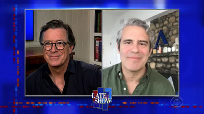 Stephen Colbert from home, with Andy Cohen, Phoebe Bridgers